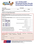 McDonald's Thanksgiving Day Parade Registration form